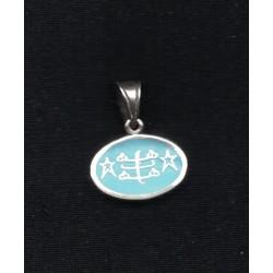 Pendentif argent signe oval bleu