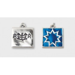 Pendentif toc carré avec signe & étoile 9 branches
