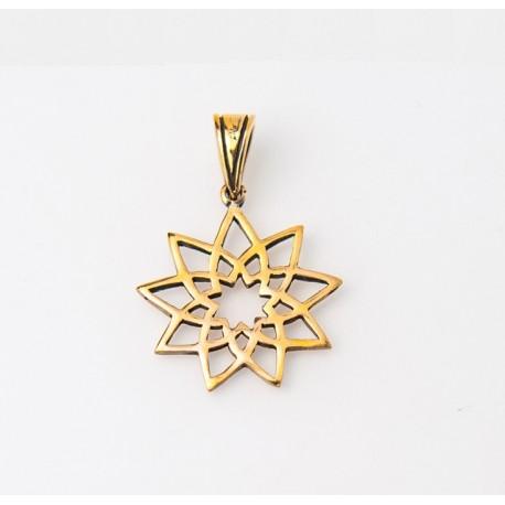 Pendentif toc doré étoile fleur 9 branches