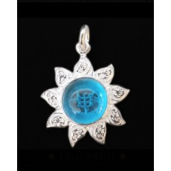 Pendentif argent Tournesol bleu  étoile 9 branches & symbole