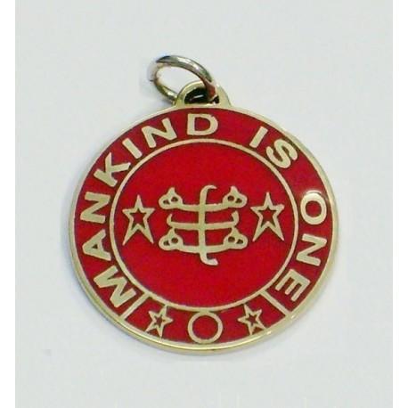 Pendentif toc rond doré & rouge 'Mankind is One'' & signe