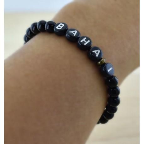 Bracelet mot 'BAHAI' perles noires