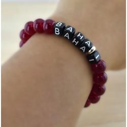Bracelet mot 'BAHAI' perles rouges
