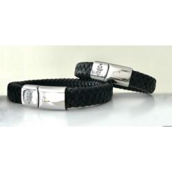 Bracelet en cuir noir/marron avec gravure signe acier