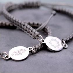 Bracelet nylon gris avec pendentif argent signe & étoile 9 branches