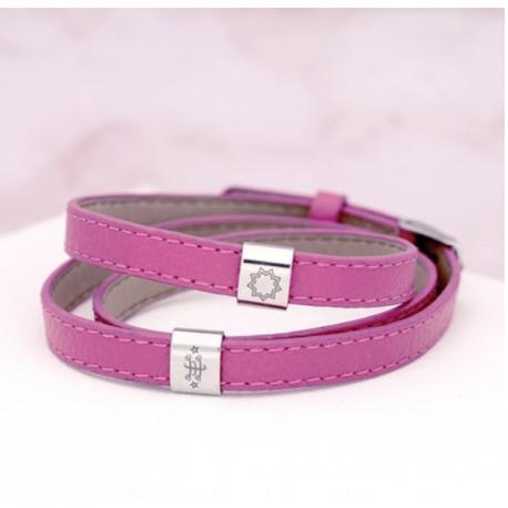 Bracelet nylon gris avec pendentif or rose signe & étoile 9 branches