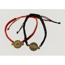 Bracelet nylon noir/rouge avec pendentif plaqué or  signe & étoile 9 branches
