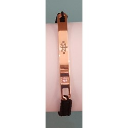 Bracelet nylon noir avec plaque or rose signe