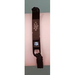 Bracelet nylon noir avec plaque acier noir signe