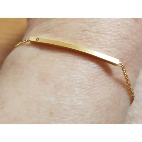 Bracelet avec plaque plaquée or étoile 9 branches