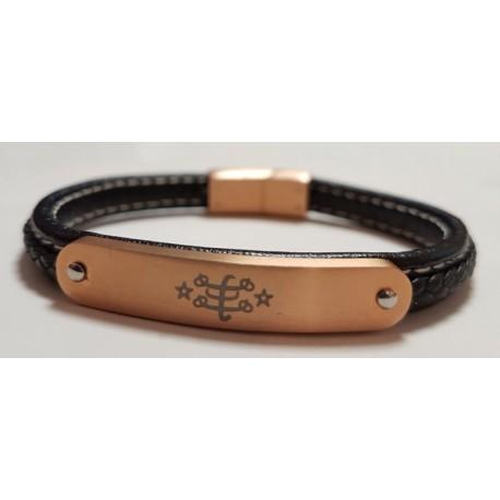 Bracelet en cuir fin noir avec plaque gravée or rose & signe