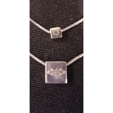 Chaine filigrane double argent avec pendentif signe  & étoile 9 branches