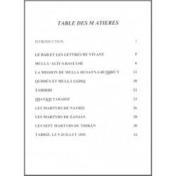 Index de la compilation sur les héros de la foi du temps du ministère du Báb